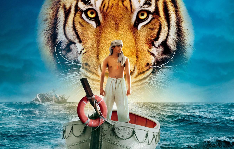 Photo wallpaper sea, water, tiger, boat, people, ship, guy, Life Of PI, Life of Pi