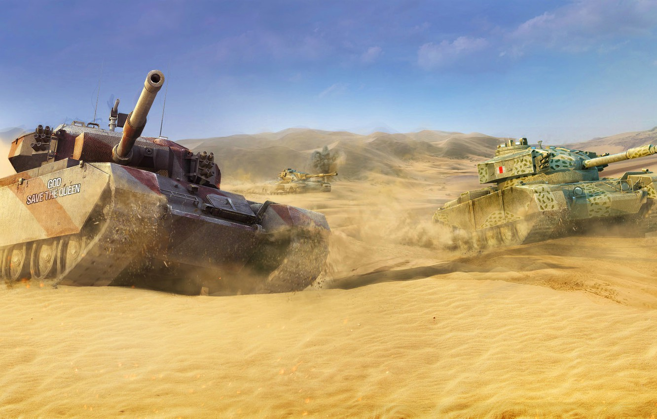Photo wallpaper England, The sky, Sand, Clouds, Mountains, Desert, UK, WoT, World of Tanks, World Of Tanks, …