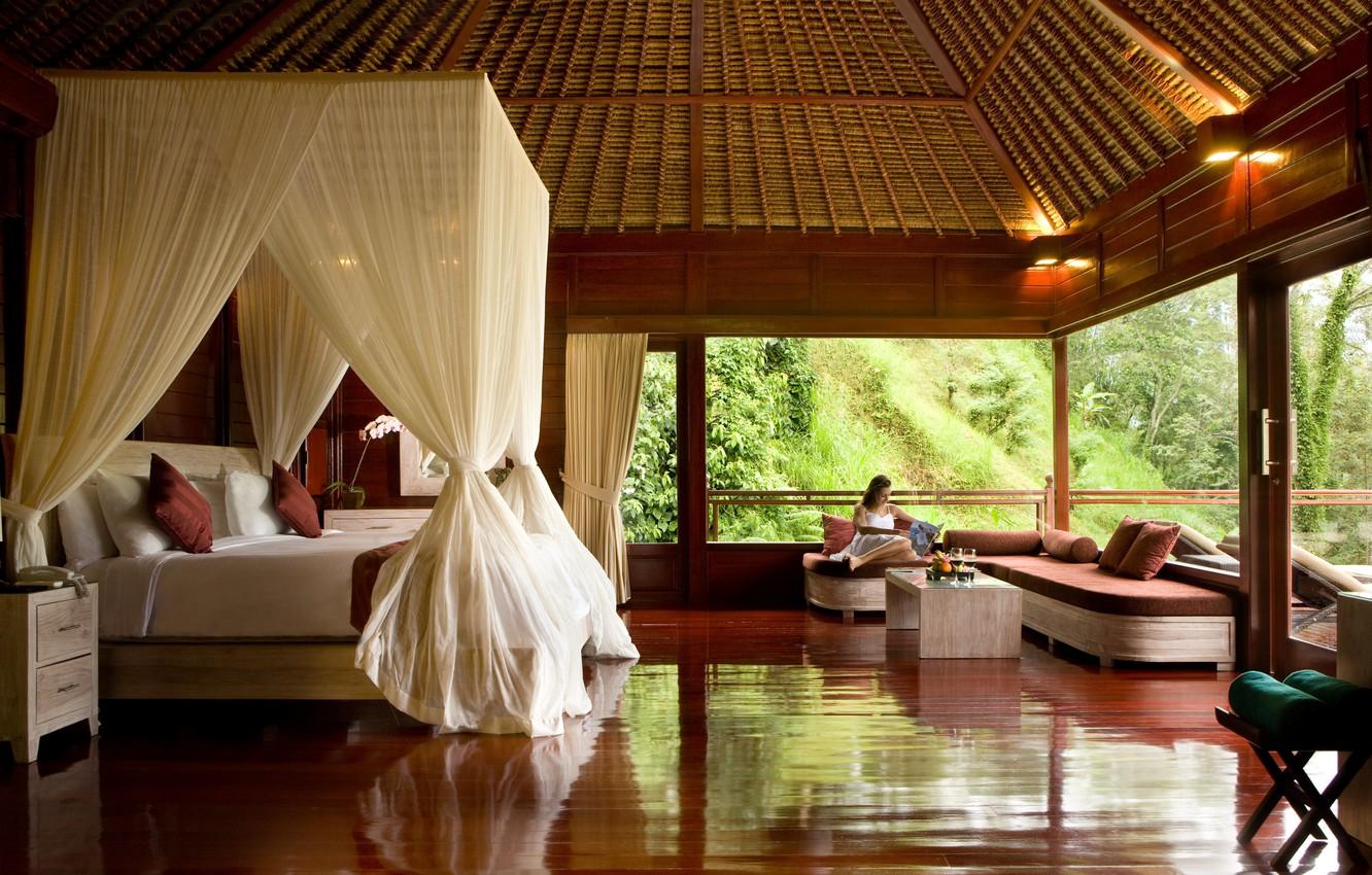 Photo wallpaper design, house, style, interior, the hotel, Bungalow