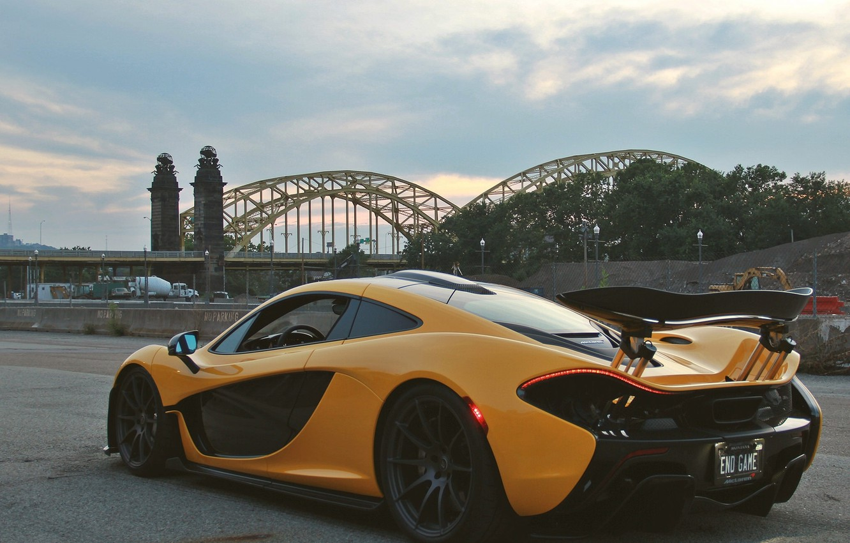 Photo wallpaper bridge, McLaren, hypercar, sports car, McLaren P1