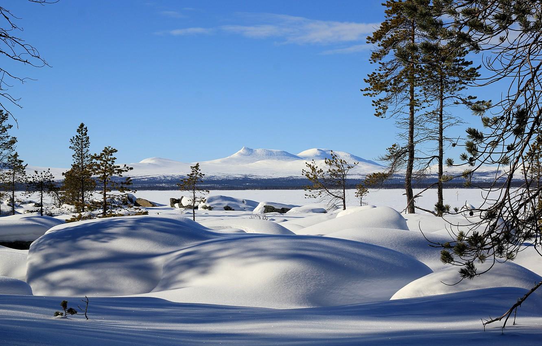 Photo wallpaper winter, snow, Norway, Norway, Femund