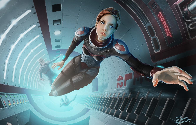Photo wallpaper girl, space, ship, art, ladder, guys, weightlessness, mine, astronaut