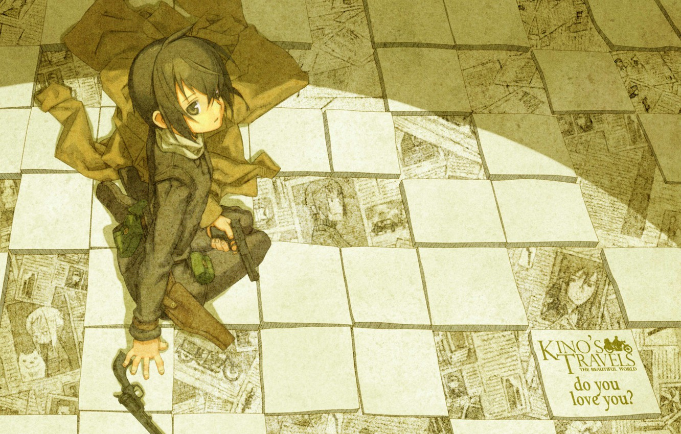 Wallpaper Text Gun Newspapers Art Holster Kino No Tabi Kouhaku Kuroboshi Kino Journey Movie Plash Sheets Of Paper Images For Desktop Section Syonen Download