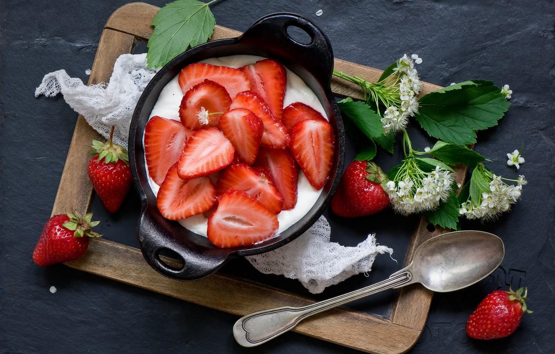Photo wallpaper berries, strawberry, spoon, flowers