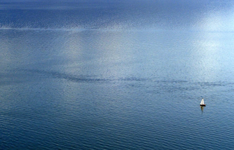 Photo wallpaper sea, wave, yacht