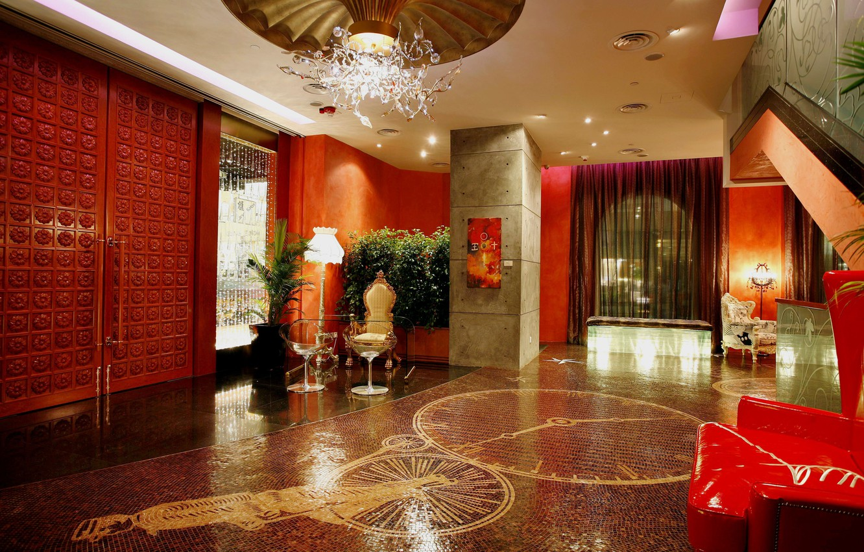 Photo wallpaper mosaic, figure, furniture, interior, chandelier, hall, chair .