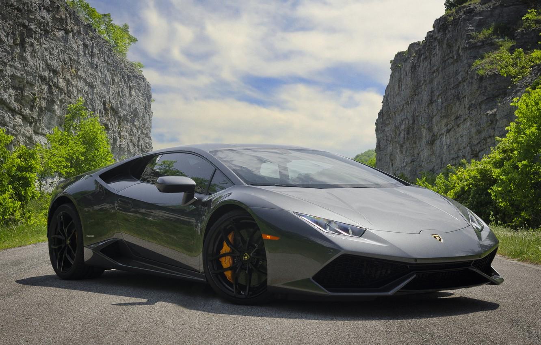 Photo wallpaper Lamborghini, Gray, LP 610-4, Huracan