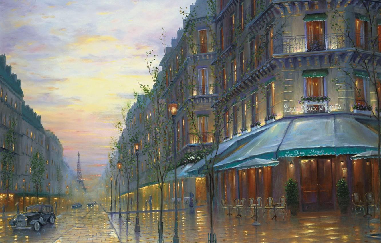 Photo wallpaper retro, street, France, Paris, building, the evening, Eiffel tower, Paris, painting, Robert Finale, France, painting, …