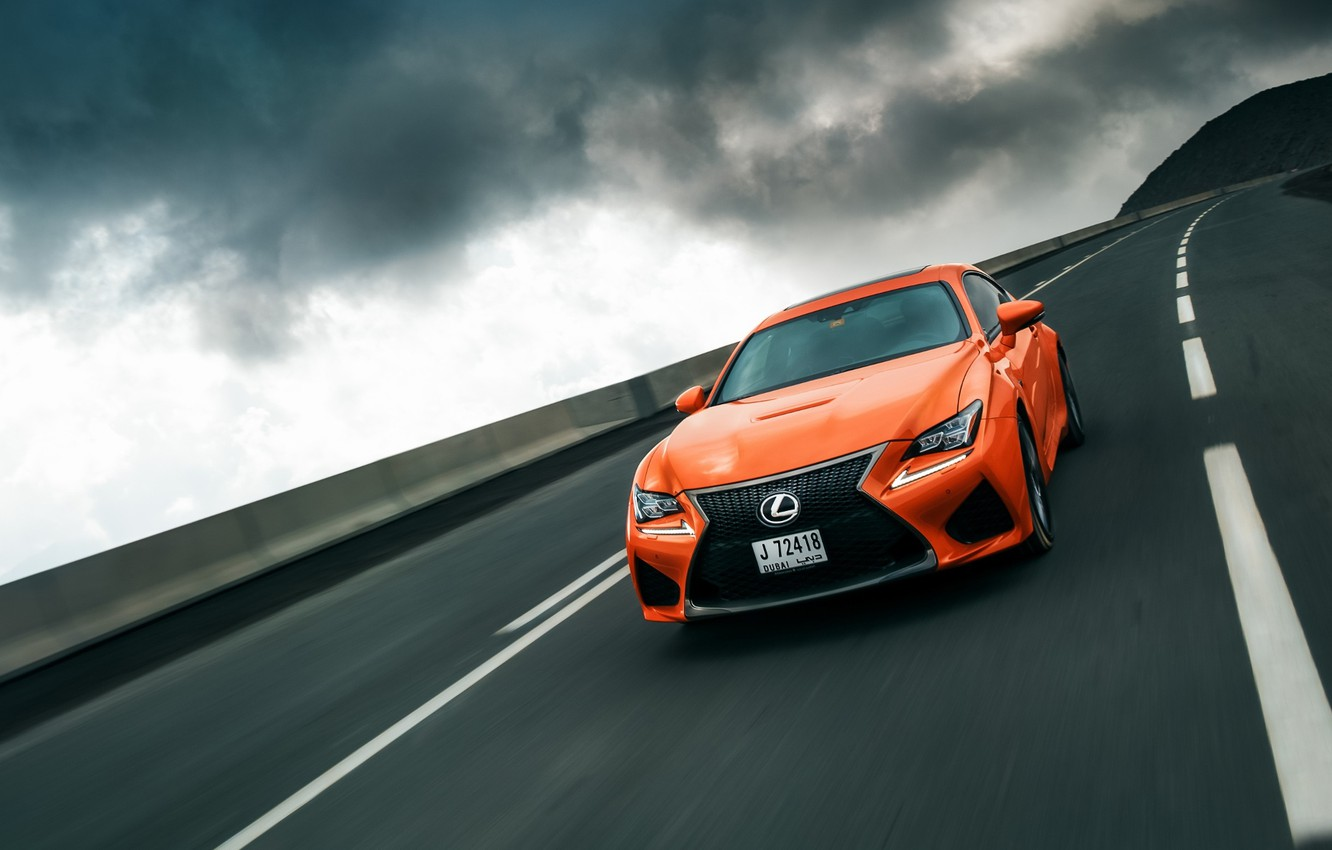 Photo wallpaper road, the sky, speed, Lexus, orange, RC F