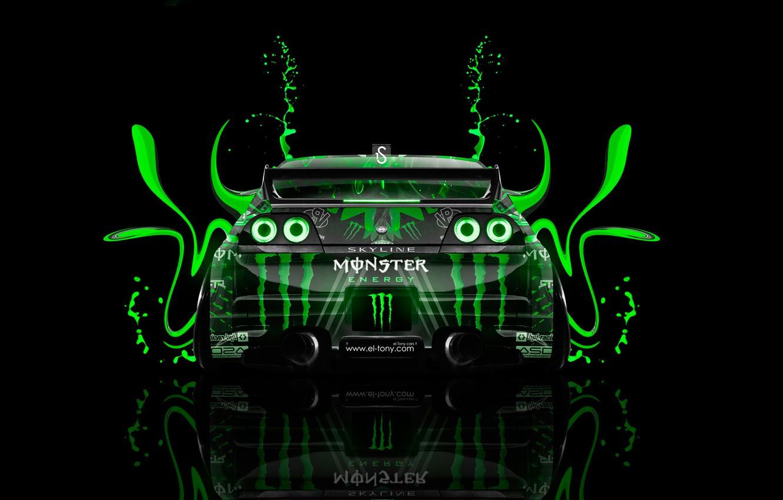 Photo wallpaper Black, Green, Style, Nissan, Wallpaper, GTR, Background, Nissan, Car, Photoshop, Photoshop, Green, Design, Plastic, Skyline, …