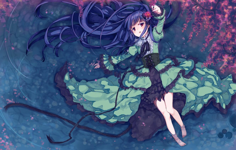 Photo wallpaper water, girl, flowers, anime, petals, Sakura, art, idolmaster, nemecko, sajou my Yuki
