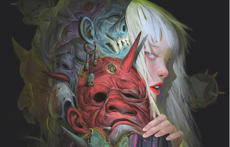 Photo wallpaper girl, doll, art, profile, mask