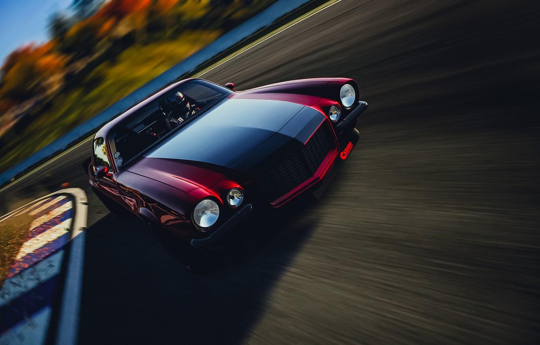 Photo wallpaper car, machine, speed, red, camaro, chevrolet, speed, motorsport, camaro rs