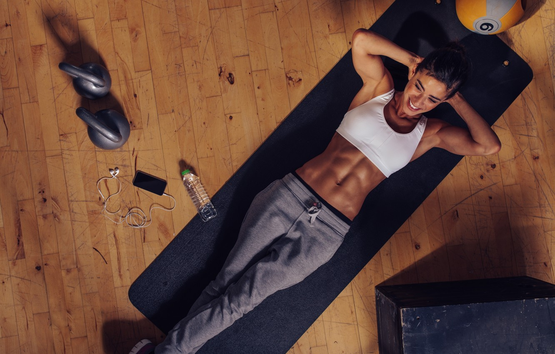 Photo wallpaper floor, workout, fitness, abs