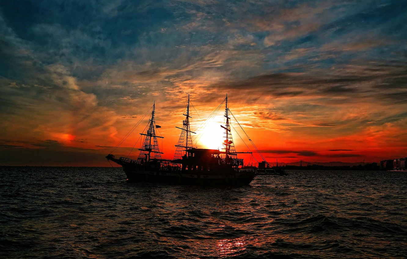 Photo wallpaper sunset, ship, sailboat