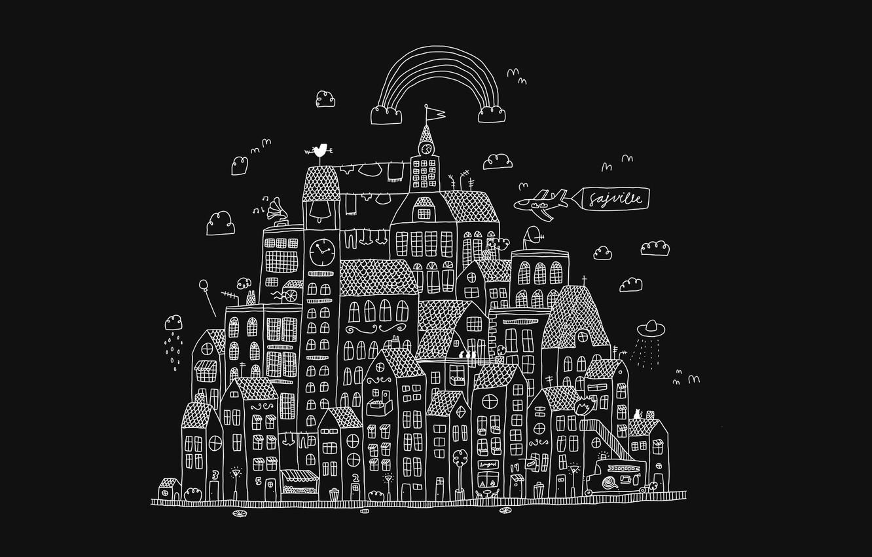 Photo wallpaper clouds, the city, figure, UFO, home, rainbow, contour, primitivism