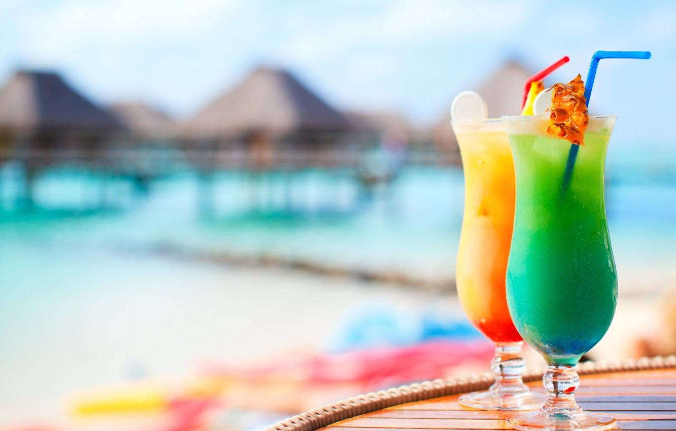 Photo wallpaper beach, summer, table, glasses, drinks, cocktails, tube, cocktails