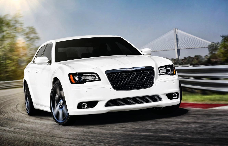Photo wallpaper White, Chrysler, grille, Machine, Sedan, Lights, srt8, 300, The front