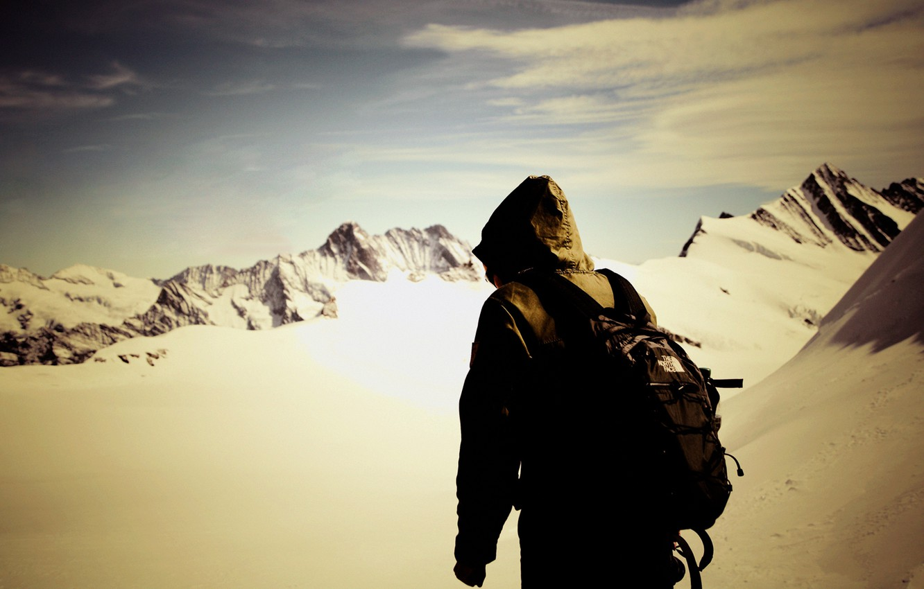 Photo wallpaper the sky, freedom, snow, mountains, people
