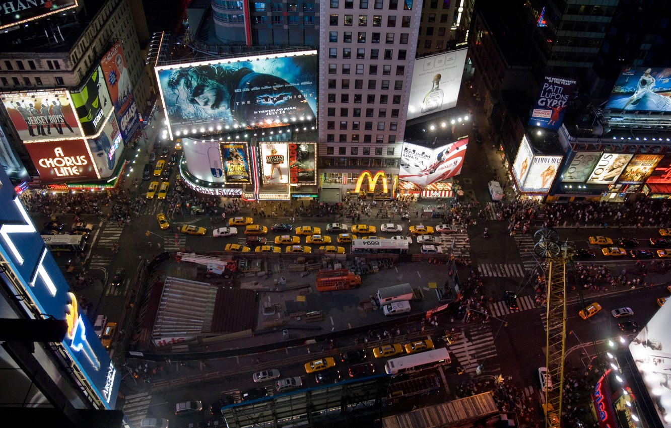 Wallpaper Night The City New York Times Square Images For
