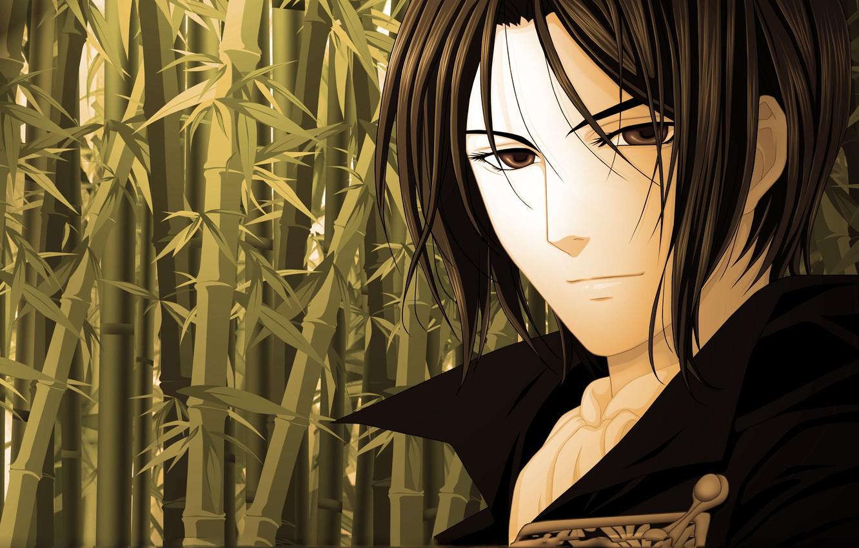Photo wallpaper eyes, look, bamboo, art, Anime, guy, Hakuouki, demons pale cherry, Shinsengumi Kitano, Okito
