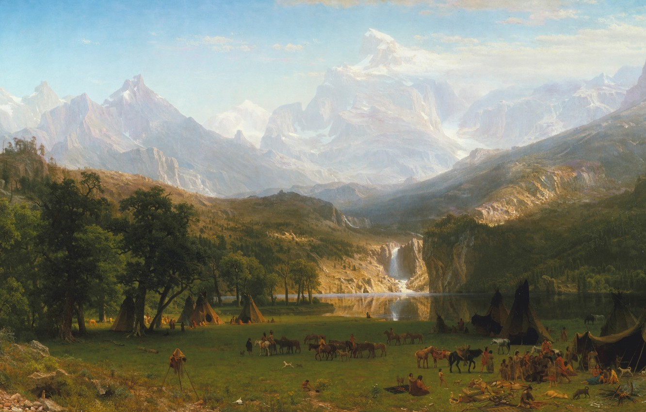 Photo wallpaper picture, painting, painting, Albert Bierstadt, Lander's Peak, The Rocky Mountains