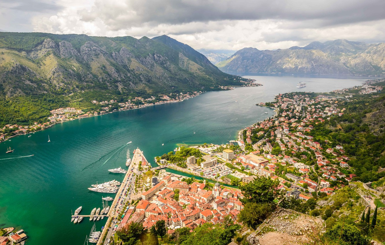 Photo wallpaper mountains, panorama, Montenegro, To, Montenegro, Kotor Bay, Kotor, the Lovcen ridge, Kotor bay