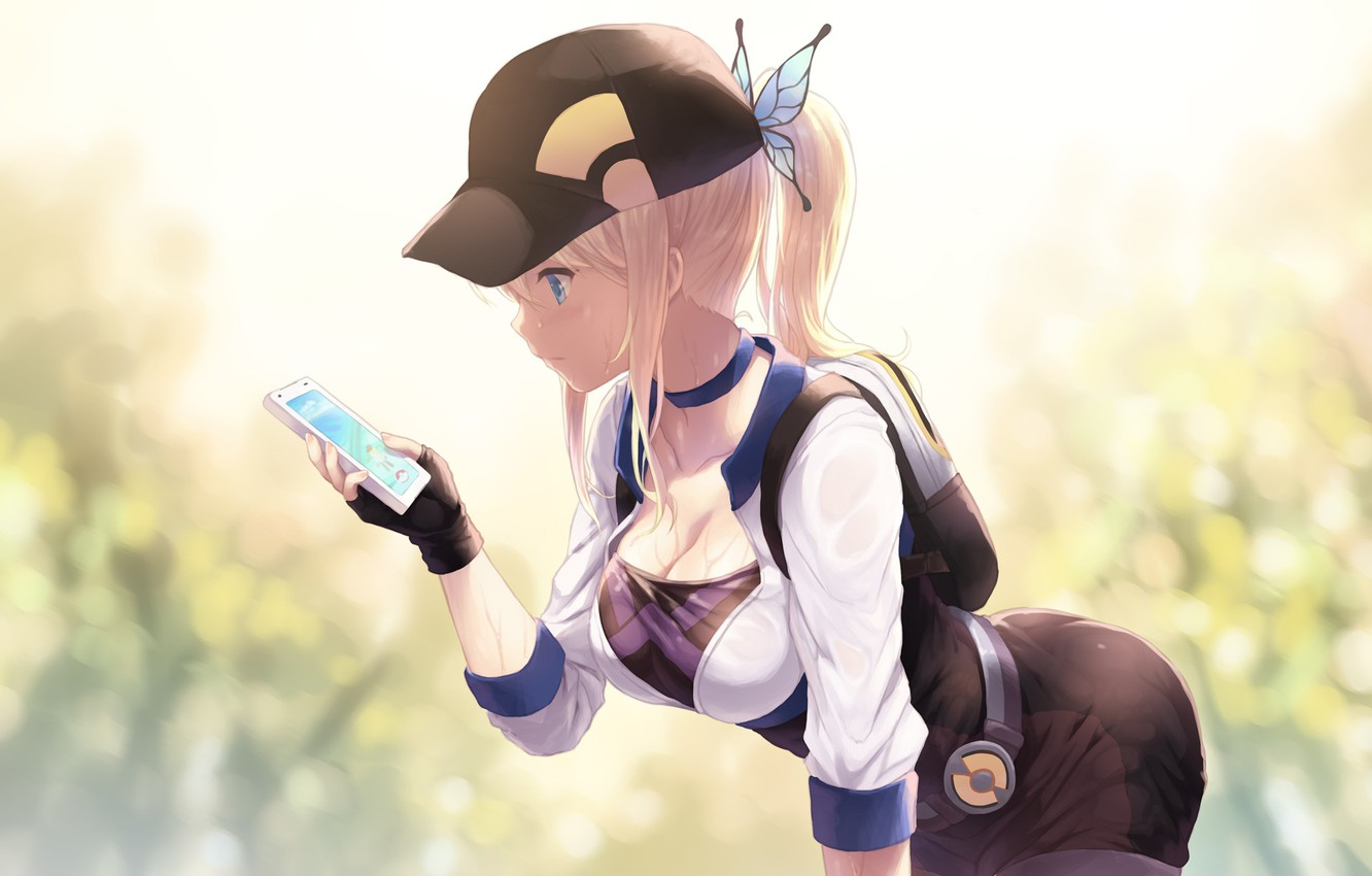 Wallpaper Girl Cap Backpack Anime Barrette Art Iphone