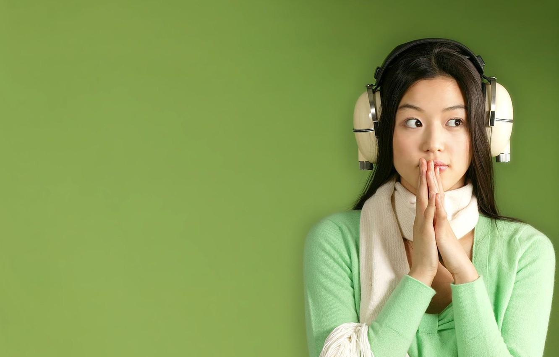 Photo wallpaper girl, music, hair, headphones