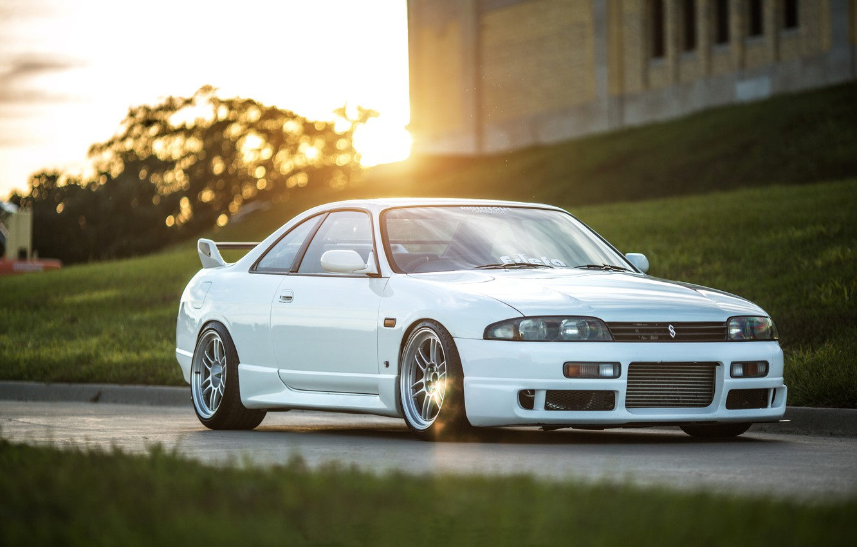 Photo wallpaper Nissan, white, Skyline, R33