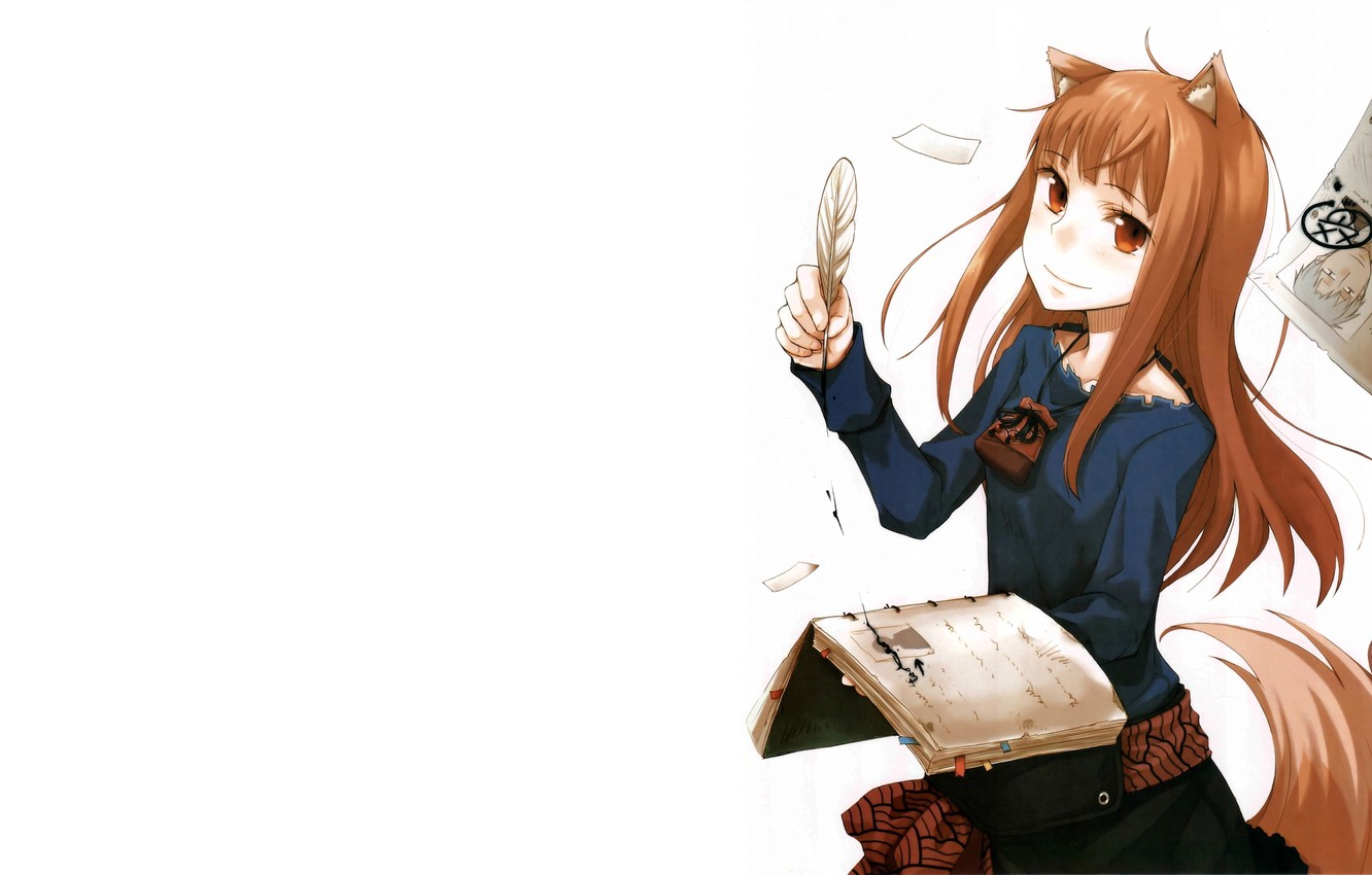 Photo wallpaper pen, White background, Anime, Horo, Spice and wolf, Spice and Wolf, Horo, A friend, notebook.