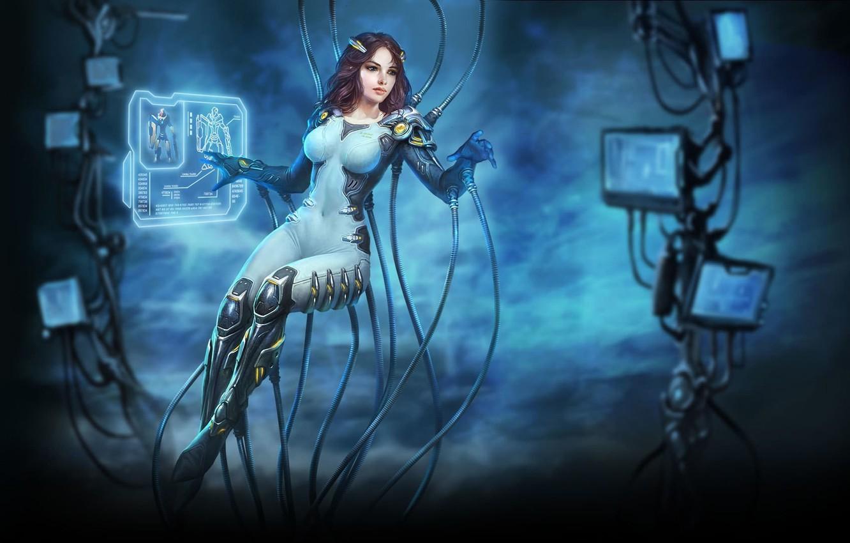 Photo wallpaper girl, interface, wire, figure, cables, art, costume, girl, monitor, cyberpunk, art, cyberpunk, suit, interface, monitor, …