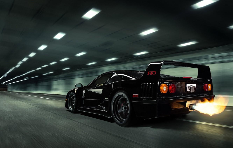 Photo wallpaper Black, Ferrari, Ferrari, F40, Flame, Black, F40, Gas Monkey