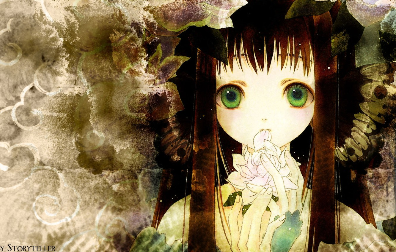 Photo wallpaper flower, face, girl, long hair, green eyes, bangs, Storyteller
