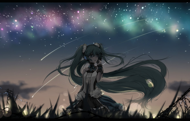 Photo wallpaper the sky, girl, stars, night, wire, anime, headphones, art, vocaloid, hatsune miku, 7th dragon 2020