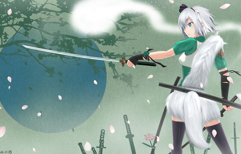 Photo wallpaper girl, tree, spirit, sword, katana, art, tail, touhou, back, konpaku youmu, lemoo