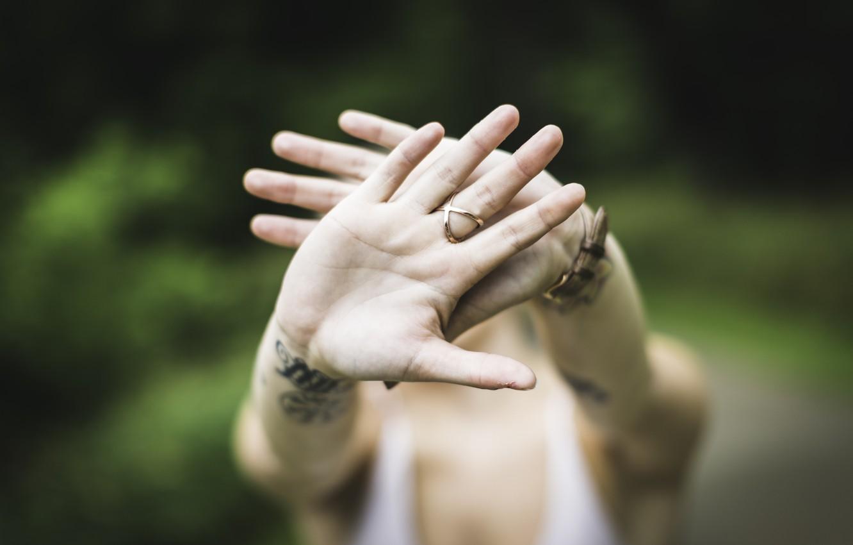 Photo wallpaper hands, ring, tattoo, tattoo, palm