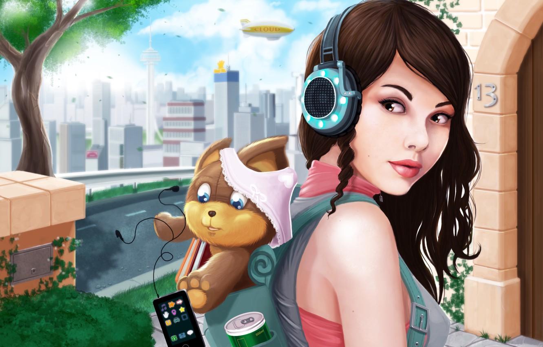 Photo wallpaper girl, the city, panties, dog, headphones, art, player, backpack, Ryan Jones