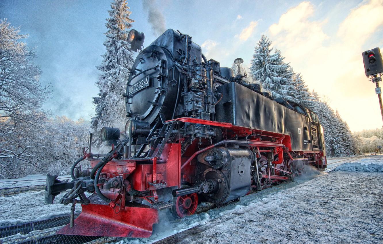 Photo wallpaper winter, snow, landscape, the engine, semaphore