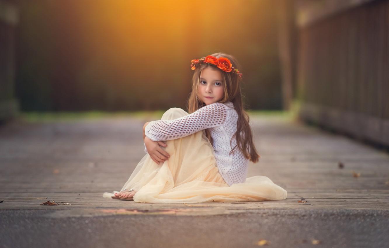 Photo wallpaper look, flowers, background, widescreen, Wallpaper, child, girl, wallpaper, girl, sitting, wreath, widescreen, flowers, background, child, …
