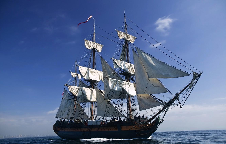 Photo wallpaper sea, the sky, clouds, wave, England, sailboat, flag, sails, Galeon, rigging, snap