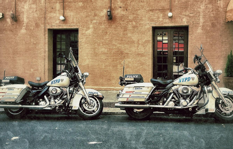 Photo wallpaper motorcycles, street, Harley-Davidson, police, highway patrol