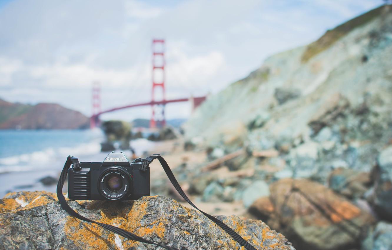 Photo wallpaper bridge, stones, camera, the camera, lens, canon