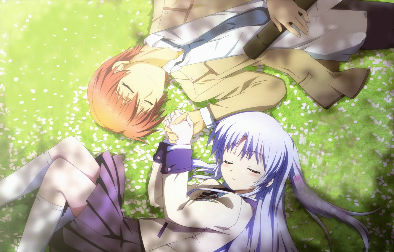 Wallpaper grass, sleep, petals, form, two, kanade tachibana
