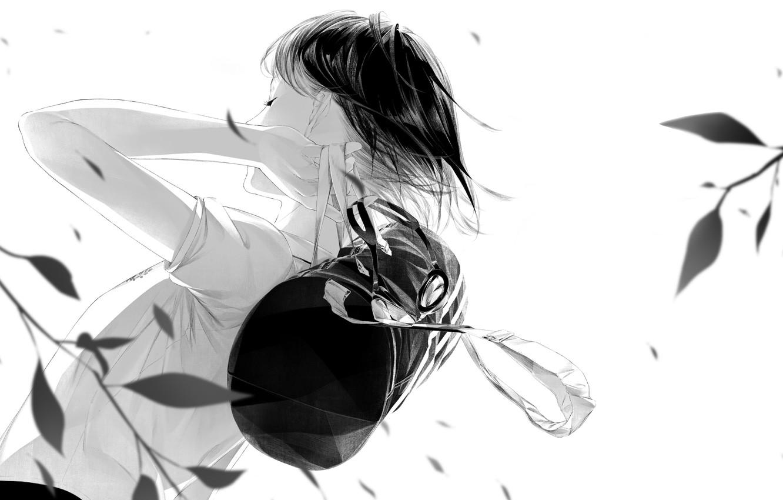 Photo wallpaper leaves, girl, the wind, art, backpack, Sawasawa