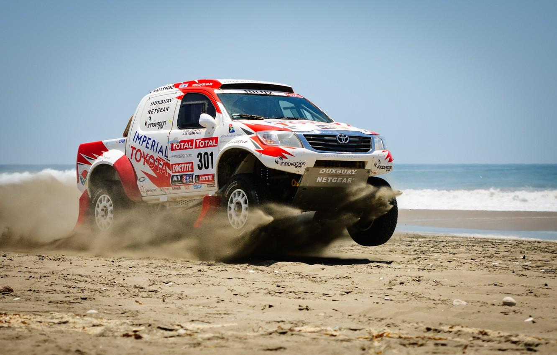 Photo wallpaper Sand, Sea, Toyota, Hilux, Rally, Dakar, Dakar, Toyota
