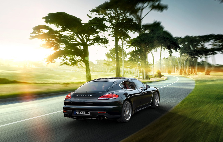 Photo wallpaper trees, Porsche, Panamera, Porsche, Panamera, 2015