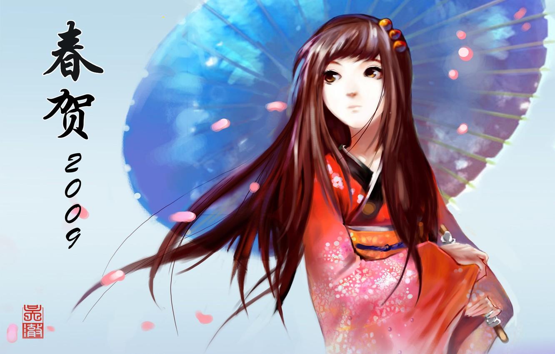 Photo wallpaper look, Girl, umbrella, petals, kimono