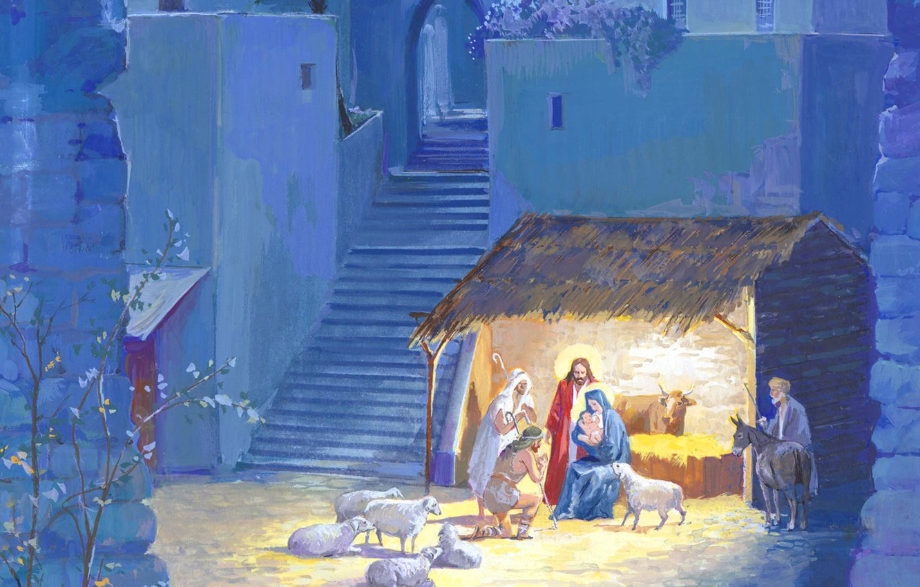 Photo wallpaper holiday, figure, sheep, Christmas, picture, the Bible, nursery, the shepherds