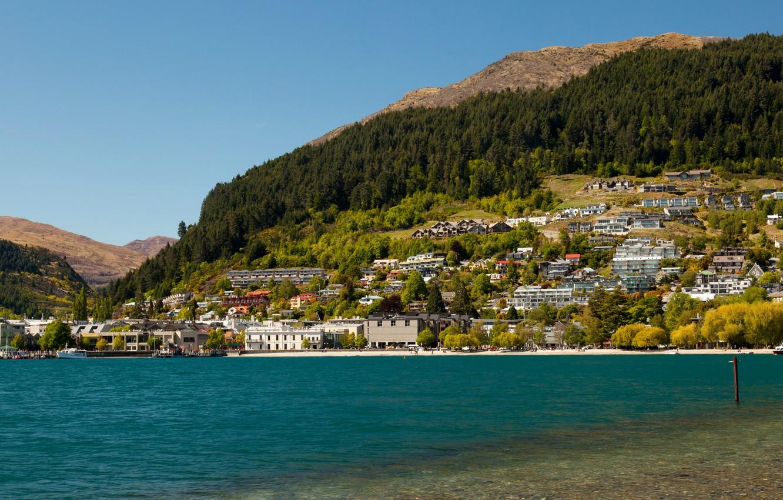Photo wallpaper the city, lake, photo, home, New Zealand, Queenstown, Lake Wakatipu